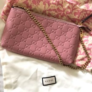 New Gucci convertible clutch/wallet w/ gold chain